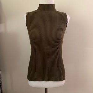 Tops - VINTAGE 90'S ARMY GREEN RIBBED TURTLENECK TANK TOP
